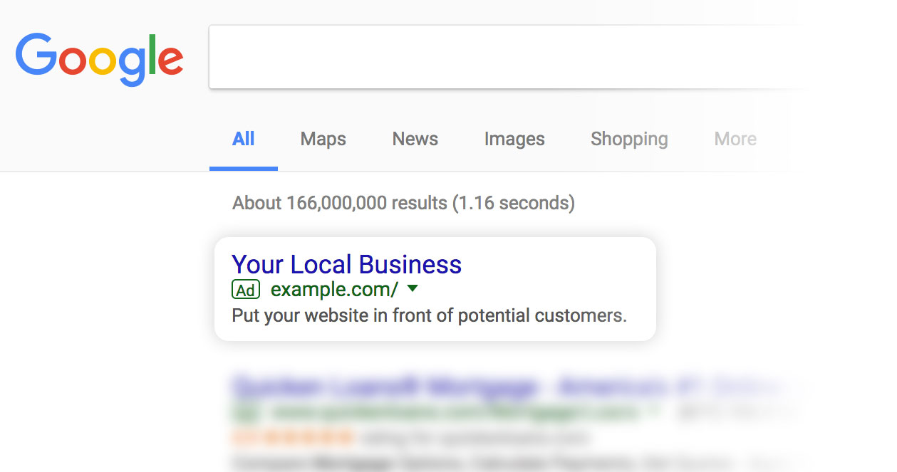 Google Search Engine Ads, Your Business Here